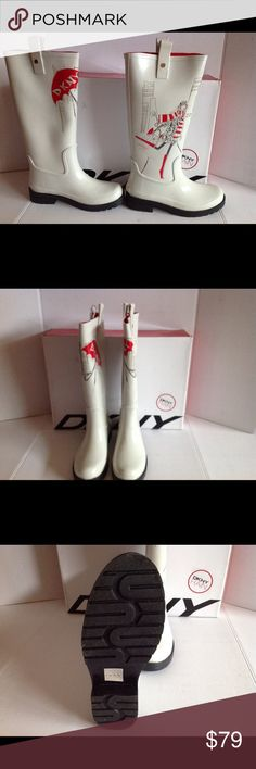 Sale! DKNY NIAGARA FUNKY HIGH RAIN BOOTS Adorable knee high rain boots. So trendy and very hard to find. Both patterns are on each boot :)  Brand new , never Worn :) flawless..still in original box :) DKNY Shoes Winter & Rain Boots