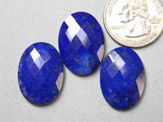 3 Pieces 24x18 mm Natural Lapis Lazuli Checker Cut by KGNSHOP