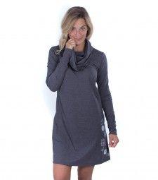 Robe Patience en poly-coton recyclé de la collection Légende. High Neck Dress, Casual, Patience, Sweaters, Dresses, Collection, Fashion, Sweater Dress Outfit, Cotton