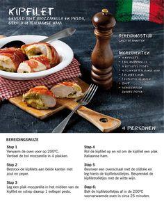 (Dutch recipe) Chicken filled with mozzarella and pesto Dutch Recipes, Italian Recipes, Pesto, Chicken Recipes, Recipe Chicken, Fabulous Foods, High Tea, Tapas, Food To Make
