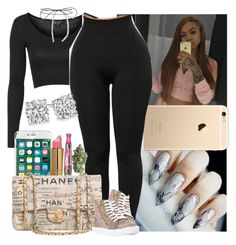 """""""//"""" by melaninmonroee ❤ liked on Polyvore featuring Topshop, Lilou, Revlon, Chanel and Steve Madden"""
