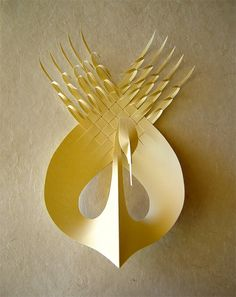 Bird sculpture by Bijian Fan who creates sculptures out of paper or polymer.