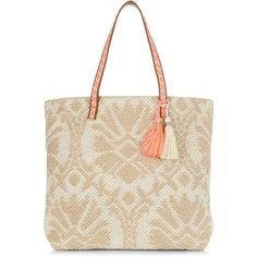 New Look Camel Abstract Woven Beach Bag ($29) ❤ liked on Polyvore featuring bags, handbags, camel, beach tote bags, tassel bag, camel purse, braided purse and woven purse