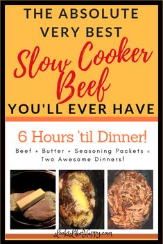 Slow Cooker Beef - You'll Wish You'd Doubled the Recipe - Crock Pot Beef - Shredded Beef - Meat & Potatoes - Beef Sandwiches - Crock Pot Recipes - Slow Cooker Recipes Crock Pot Slow Cooker, Crock Pot Cooking, Slow Cooker Recipes, Crockpot Recipes, Weeknight Recipes, Delicious Recipes, Dinner Recipes, Best Cooker, Shredded Beef