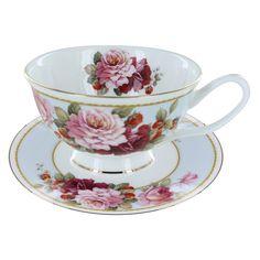 Peony and Strawberry Blue Bone China - Teacup and Saucer Set