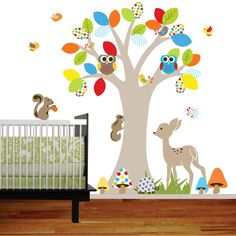 Pretty sure I'm gonna use this for my boy/girl twin nursery. Just love all the bright primary colors.    Vinyl Wall decal stickers swing tree set by wallartdesign on Etsy, $125.00