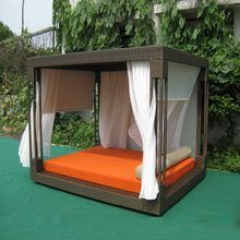 Most popular outdoor furniture rattan daybed with canopy sun bed lounge rattan bed wicker cabana no curtain transport by sea Rattan Daybed, Daybed Canopy, Outdoor Daybed, Outdoor Lounge, Outdoor Decor, Outdoor Hammock, Used Outdoor Furniture, Deck Furniture, Quality Furniture