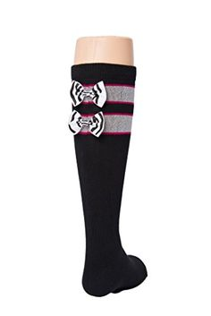 Black Tot Jocks Girls Sports Socks Pink Black and Silver with Zebra Print Bow Kids Size 925 Soccer Volleyball Field Hockey Softball >>> Be sure to check out this awesome product.Note:It is affiliate link to Amazon.