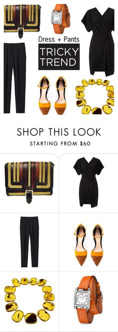 """""""Untitled #373"""" by vintageandmore ❤ liked on Polyvore featuring Burberry, Miss Selfridge, Rebecca Taylor, Gianvito Rossi, Hermès, TrickyTrend, kimono and dressandpants"""