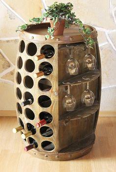 N° 0416 Bar à vin en forme de fût, Brun, hauteur : 84 cm, capacité : 42 bouteilles: Amazon.fr: Cuisine & Maison