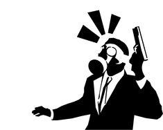 Suit and gun stencil
