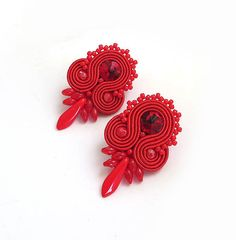 Christmas gift for her Small red studs earrings by sutaszula