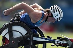 Tatyana McFadeen of United States competes in the 800 meter - T54 Round 1 at Olympic Stadium on day 10 of the Rio 2016 Paralympic Games at  on September 17, 2016 in Rio de Janeiro, Brazil.