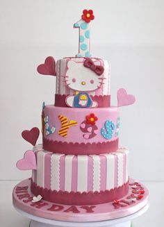 Hello Kitty Cake really want to do one like this for teas first birthday!!