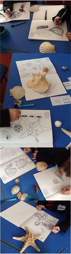 """""""I did the drawing challenge with my year 1 children at Northern Saint Primary School in Sunderland. We observed shells and played lots of warm up games to really look at the different marks on a shell. We used milk powder solution and pastels on fabric to create our final pieces. Great fun and beautiful outcomes""""."""