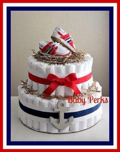 Nautical Diaper Cake by MsPerks on Etsy Mesas Para Baby Shower, Baby Shower Niño, Baby Shower Diapers, Baby Shower Cakes, Baby Shower Parties, Baby Shower Themes, Baby Shower Gifts, Baby Gifts, Shower Ideas