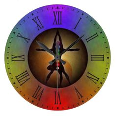 #teacher - #Colorful Yoga Seven Chakras Yin Yang Balance Large Clock