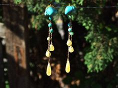 Ekavi Earrings.  A unique, handcrafted piece made for a Goddess.  Gold-plated 925 silver chain and hooks.  Turquoise and yellow Jade Stones     Greek Goddess Collection.