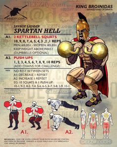 spartan workout: 300 kettlebell squats & push ups (Fitness Motivation Body) Entraînement Boot Camp, Fun Workouts, At Home Workouts, Fitness Workouts, Fitness Memes, Funny Fitness, Fitness Gear, Body Workouts, Fitness Nutrition