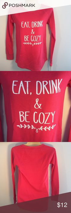 NEW XS Eat, Drink & Be Cozy ☕️ Waffle Lounge Shirt NEW Eat, Drink & Be Cozy XS Pink Thermal Lounge Shirt  59% cotton 39% polyester 2% spandex Sonoma Tops Tees - Long Sleeve