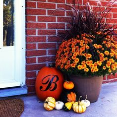 Front porch fall decorations. I love this pot of colors!!!