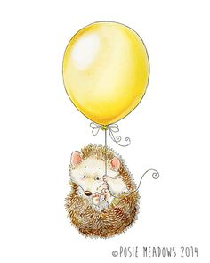 Hold On Tight hedgehog Watercolor Giclee Print by PosieMeadows