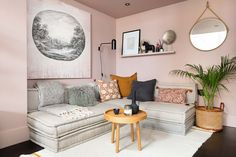 Interior Fox, London house renovation Pink Walls, White Walls, Cafe Style Shutters, Cafe Design, Interior Design, Box Bedroom, Super King Size Bed, 3d Wall Panels, London House