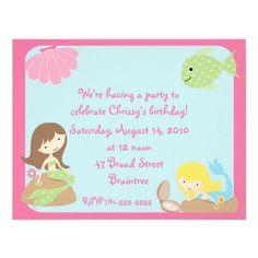 KRW Cute Mermaid Birthday Party Invitations