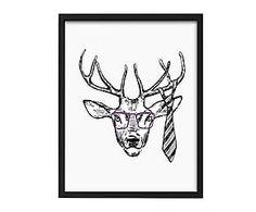 Cuadro de madera sostenible Hipster Deer - 40x50 cm