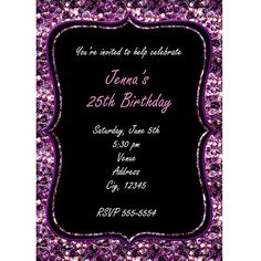 Purple Chunk Silver Glitter Glam Party Invitation