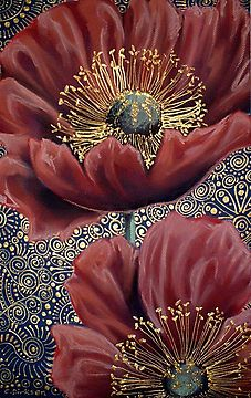 Red Poppies II with Spiral Background by Cherie Roe Dirksen