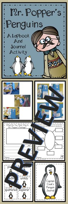 Mr. Popper's penguins is such a fun book! This lapbook is a great activity to do along with the book. This packet includes 44 pages.  There is a fun take home journal activity. Students get to take a stuffed penguin home for 1-2 nights and do penguin activities with their families. Then they journal in their penguin journal book. Penguin NOT included. You need to purchase a small penguin or you can do what I did, borrow one from a good friend.