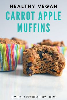 Vegan carrot apple muffins are a healthy and moist breakfast. Healthy vegan ingredients and oil free. A healthy and yummy treat perfect for fall. Healthy Muffin Recipes, Vegan Dessert Recipes, Vegan Breakfast Recipes, Vegan Snacks, Snack Recipes, Breakfast Healthy, Vegan Treats, Vegan Food, Breakfast Ideas