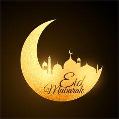 Golden Moon & Mosque Design Eid Mubarak Vector