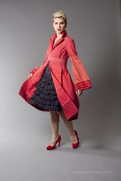 glam.spoon : recycled style ... Keaton duster; Bright pink cotton duster jacket with long ruffled bell sleeves & ruffled lapel, pleated full skirt and empire closures, made from 100% recycled materials, hand dyed.