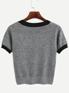 Grey Contrast Trim Knitted T-shirt Mobile Site