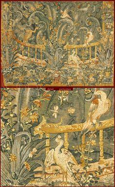 """Tapestry De Rambouillet - Polychrome reproduction on textile of """"Verdure d'Audenarde"""" tapestry (XVIth. Cent., chateau de Roi René, Angers)."""