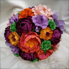 Purple and Pink  Paper Bouquet  by DragonflyExpression