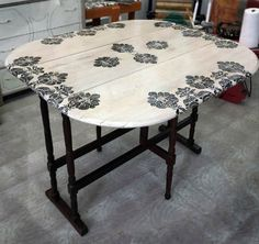 Stenciled Antique Gate Leg Table--Changes the look of antique to vintage!