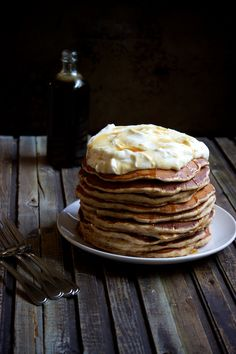 Carrot Cake Pancake Stack with Whipped Cream Cheese Topping #recipe