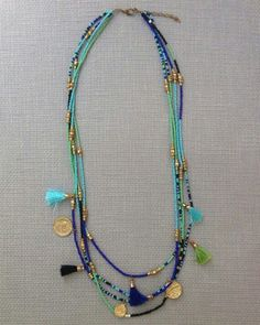Spice your outfit up with this boho bohemian inspired turquoise, blue, and green seed bead charm tassel statement necklace. Necklace Measurements: - Spice your outfit up with this boho bohemian. Tassel Jewelry, Bohemian Jewelry, Beaded Jewelry, Jewelry Necklaces, Handmade Jewelry, Bohemian Necklace, Jewelry Shop, Bracelets, Seed Bead Necklace