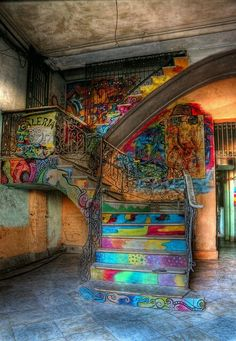 Colourful staircase in an old house in Cuba ...