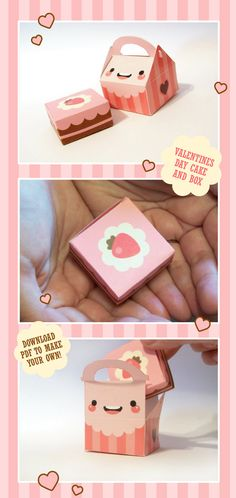 This is the Strawberry Chocolate Cake with Cake Box Toki Toki = cute pod papercraft you make yourself This is a little square cake with a cake box to store it in. Kawaii Diy, Kawaii Crafts, Cute Crafts, Crafts For Kids, Diy Crafts, Valentines Gift Box, Valentine Cake, Be My Valentine, Nail Art Sticker