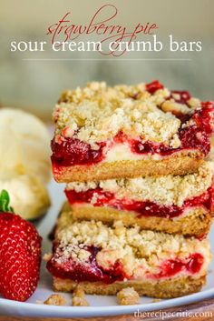 Strawberry Pie Sour Cream Bars ohsweetbasil.com