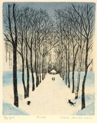 Puisto by Inari Krohn Woodblock Print, Snow, Prints, Outdoor, Art, Drawings, Outdoors, Art Background, Kunst