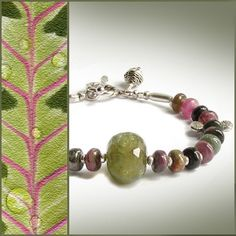 RESERVED  Tourmaline Bracelet with Green Garnet and Silver