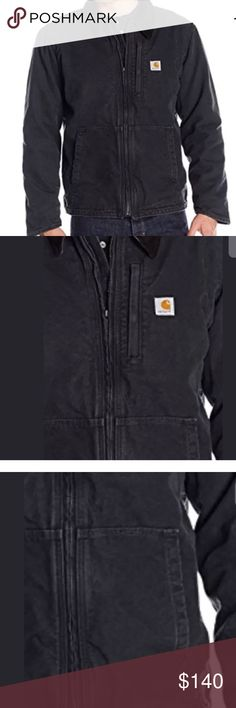 Carhartt 2XL Jacket Full Swing Black Sandstone New with Tags! Carhartt Men's Active Jacket Black shell (cotton duck) Sandstone (slightly distressed) finish Black knit waist hem & cuffs Sherpa lining in back Dark Gray Polyester Balance of lining is fleece Full zip opening 3 Pockets on front 2 large side opening at waist 1 with zipper closure on chest 2 Pockets inside 1 with zipper closing; 1 hook & loop closing Fleece lined hood with drawstring Mighty Back bi-swing between shoulders Freedom…