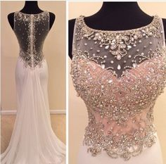 2015 Real Made Beads Prom Dresses, Charming Floor-Length Prom Dresses, Sexy O-Neck Prom Dresses, A-Line Sequins Prom Dresses, Charming Backless Evening Dresses, Evening Dresses