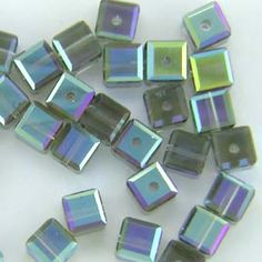 Swarovski 5601 4mm Black Diamond AB B Cube Bead (Limited Availability) 12 Pack