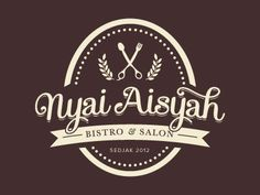Nyai Aisyah Vintage Logo Design Inspiration - I love the oval shape, the small dots on the inner edge